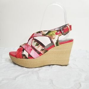 Marc Fisher Red Watercolor Platform Wedge